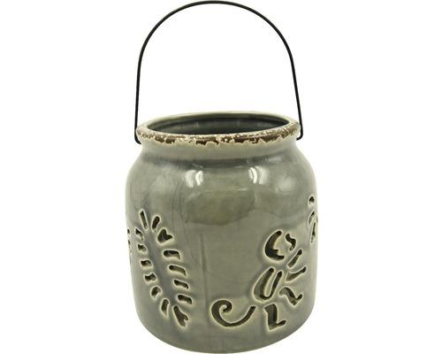 Lanterne en céramique-fer Ø13 H13cm gris