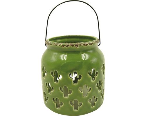 Lanterne en céramique-fer Ø13 H13cm vert