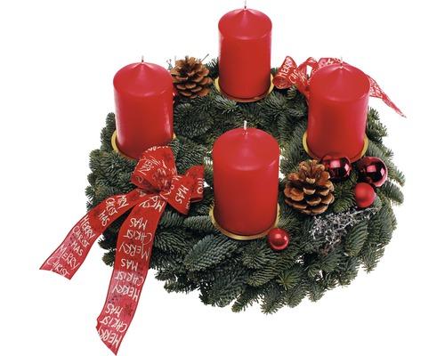 Couronne de l''Avent avec bougies Ø 35cm rouge
