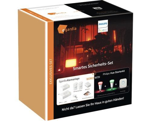 egardia Smartes Sicherheits Set inkl. Philips hue Gateway, 2 x Lampen, 2 x Bewegungsmelder, Fernbedienung, Bedienteil, Öffnungsmelder, 4 x Warnsticker