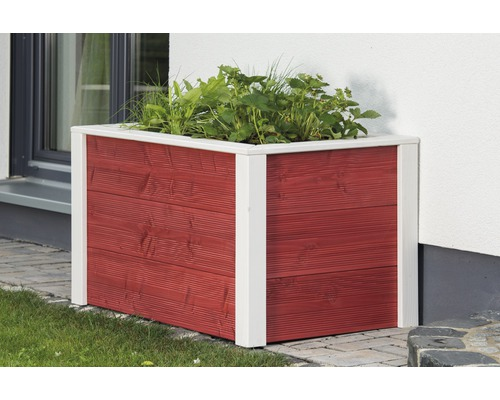 Jardinière surélevée classique Konsta 106x65x60cm rouge-blanc