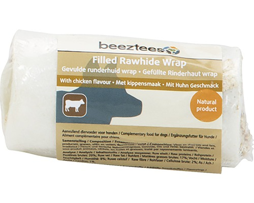 Os à mâcher Wrap beeztees peau de bœuf garnie goût poulet 8-12 cm