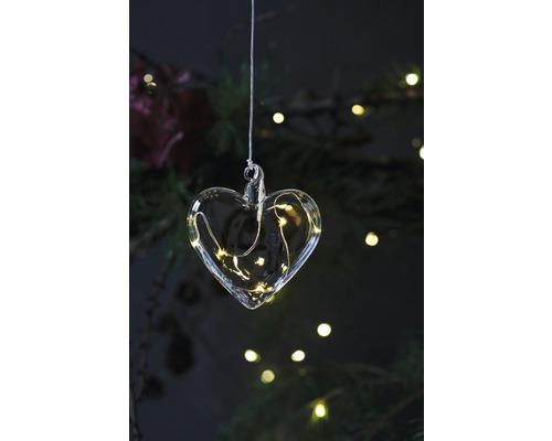 Objet lumineux LED Sirius cœur Rebecca à piles Ø 8 cm lot de 5 blanc chaud avec fonction de minuterie