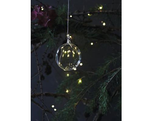 Objet lumineux LED Sirius boule en verre Rebecca à piles Ø 8 cm lot de 5 blanc chaud avec fonction de minuterie