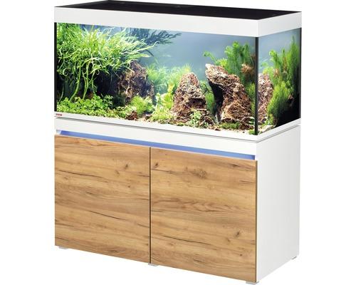 Kit complet d''aquarium EHEIM incpiria 430 avec éclairage à LED et meuble bas éclairé alpin/chêne