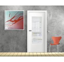 Vitrage de porte verre de sécurité design à 4 rayures 53,5x142 cm-thumb-0