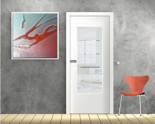 Vitrage de porte verre de sécurité design à 4 rayures 53,5x142 cm-0