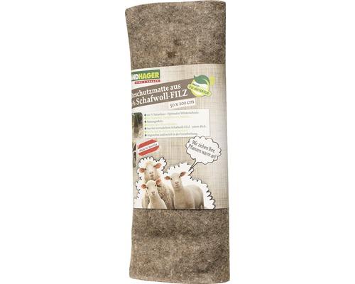 Tapis en feutre de laine de mouton Windhager 0,5x2 m gris
