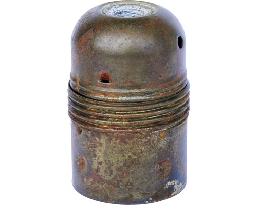 Culot de lampe E27 métallique, à filetage court vintage/patine