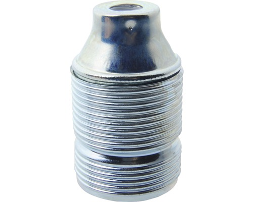 Culot de lampe E27 métallique, à filetage long argent