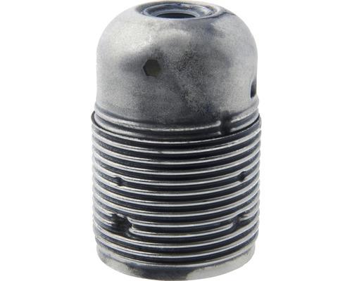 Culot de lampe E27 métallique, à filetage long patine/argent