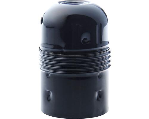 Culot métal E27 noir à filetage court