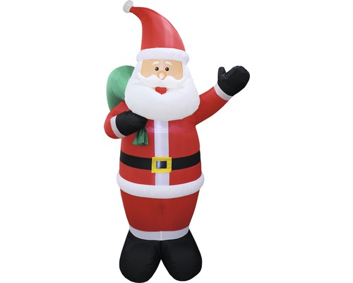 Figurine lumineuse LED gonflable Lafiora Père Noël extérieur et intérieur H 240 cm blanc froid