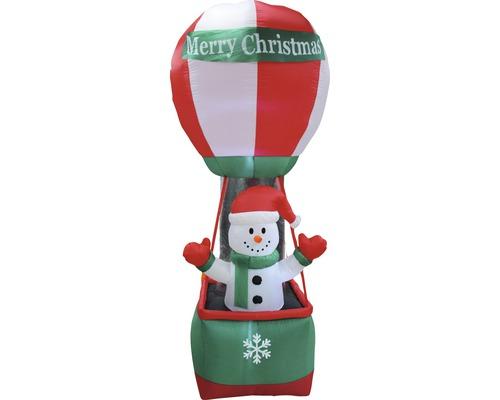 Figurine lumineuse LED gonflable Lafiora montgolfière avec bonhomme de neige extérieur et intérieur H 270 cm blanc froid