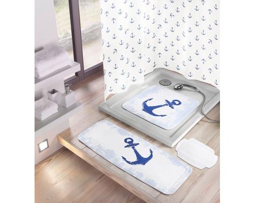 Tapis antidérapant pour baignoire Kleine Wolke Anchor 36 x 92 cm bleu