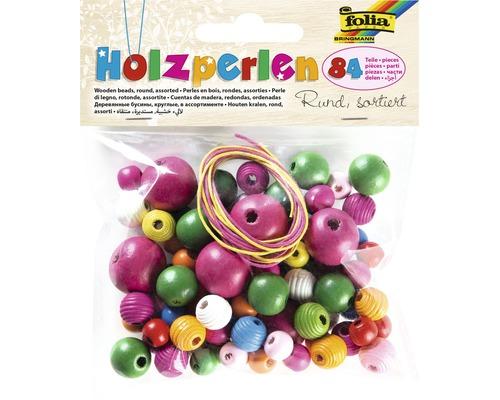 Perles en bois rondes 84pièces