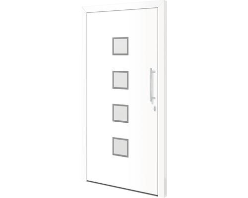 Porte d''entrée Tennessee aluminium 110x210 cm tirant droit verrouillage à 3 points (blanc)