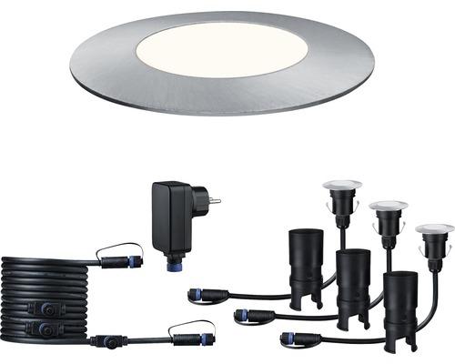 Kit de spots à encastrer Plug & Shine IP65 kit de base 3x2,5W 50 lm 4000 K blanc neutre Ø 55/40 mm Floor Mini argent 230/24V 3 pces
