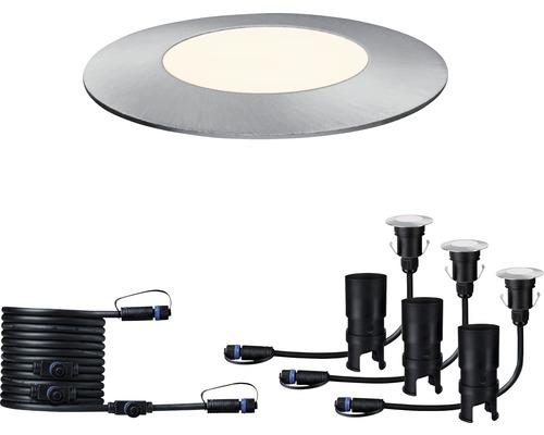 Kit d''extension de spots à encastrer à LED Plug & Shine Paulmann Floor Mini IP65 3x2,5W 3x95 lm 3.000 K blanc chaud Ø 55/40 mm argent 230/24V 3 pces