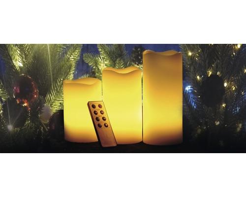 Bougie LED Lafiora crème à piles Ø 7,5 H 10/12/15 cm jaune 3 pièces avec fonction minuterie