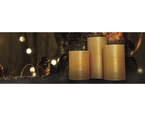 Bougie LED Lafiora or à piles Ø 7,5 H 10/12/15 cm jaune 3 pièces avec fonction minuterie