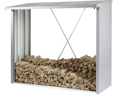Abri bûches biohort WoodStock 230 229x102x199cm, argent métallique