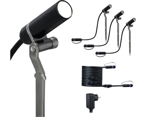 Spot LED Plug & Shine Paulmann kit de base avec piquet à planter IP65 3x2,5W 3x90 lm 3.000 K blanc chaud HxØ 223x21 mm Plantini anthracite 230/24 V 3 pces