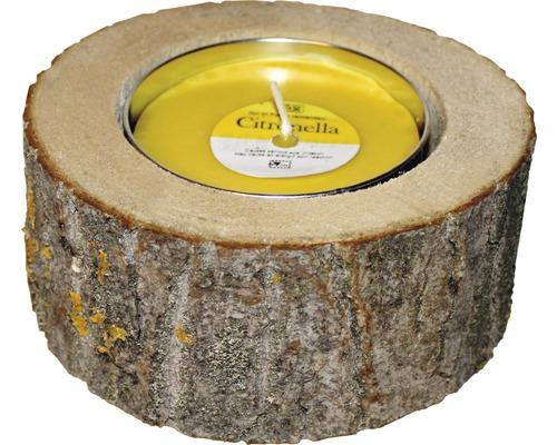 Citronellakerze Wood Holz-Metall Ø 16 H 7,5 cm gelb