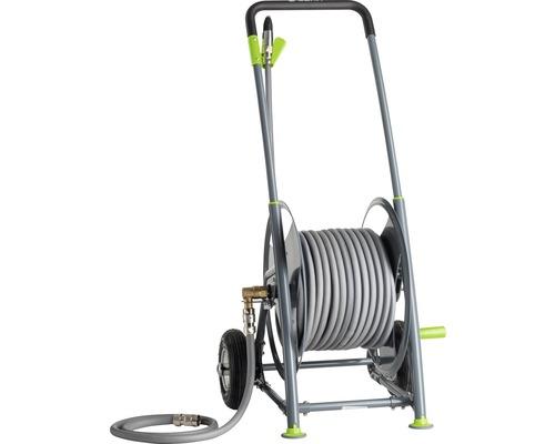"""Dévidoir sur roues P40SST GEKA set complet avec tuyau d'eau Geka Plus 25 m 1/2"""", set de connexion dévidoir, buse d'arrosage lourde et pièces de raccordement"""