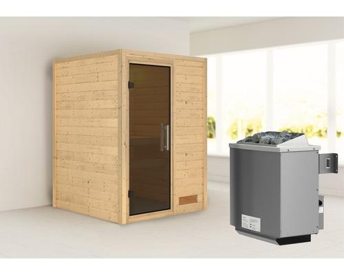 Sauna en madriers Woodfeeling Svenja avec poêle 9 kW et commande intégrée sans couronne avec porte entièrement vitrée coloris graphite