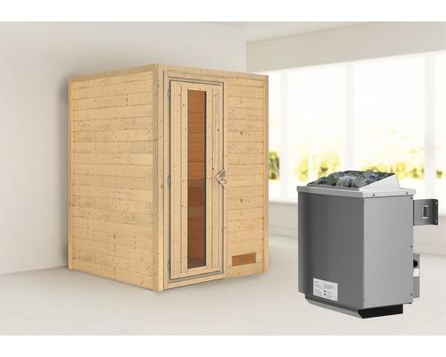 Sauna en madriers Woodfeeling Svenja avec poêle 9 kW et commande intégrée sans couronne avec porte en bois et verre isolé thermiquement