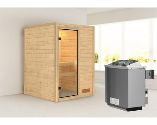 Sauna en madriers Woodfeeling Svenja avec poêle 9 kW et commande intégrée sans couronne avec porte entièrement vitrée coloris bronze