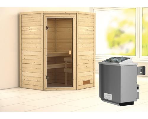 Sauna en madriers Woodfeeling Franka avec poêle 9 kW et commande intégrée sans couronne avec porte entièrement vitrée coloris bronze