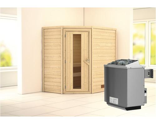 Sauna en madriers Woodfeeling Svea avec poêle 9 kW et commande intégrée sans couronne avec porte en bois et verre isolé thermiquement