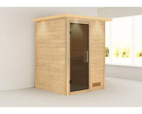 Sauna Plug & Play Karibu Madja sans poêle et couronne avec porte entièrement vitrée coloris graphite