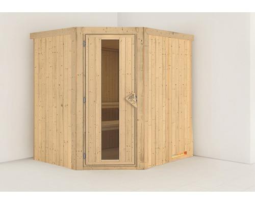 Sauna Plug & Play Karibu Silja sans poêle ni couronne, avec porte en bois et verre isolé thermiquement