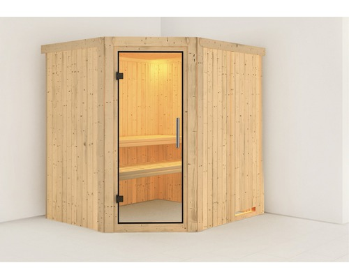 Sauna Plug & Play Karibu Silja sans poêle ni couronne, avec porte entièrement vitrée transparente