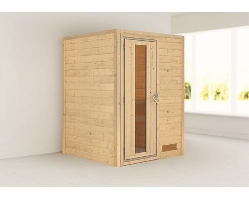 Sauna Plug & Play Karibu Madja sans poêle ni couronne, avec porte en bois et verre isolé thermiquement