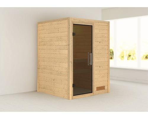 Sauna Plug & Play Karibu Madja sans poêle ni couronne avec porte entièrement vitrée coloris graphite
