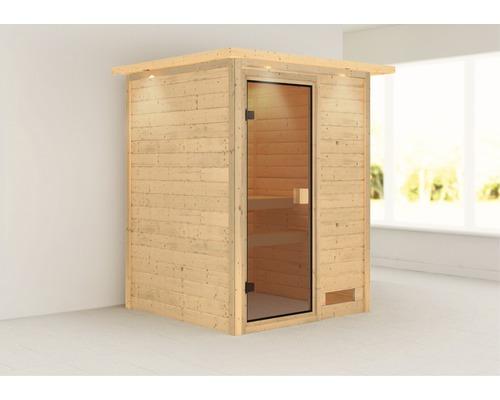Sauna Plug & Play Karibu Madja sans poêle avec couronne et porte vitrée coloris bronze