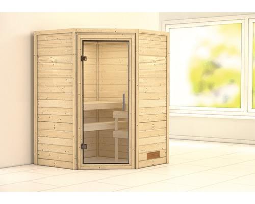 Sauna Plug & Play Karibu Flicja sans poêle avec couronne et porte entièrement vitrée transparente