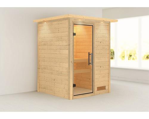 Sauna Plug & Play Karibu Madja sans poêle avec couronne et porte entièrement vitrée transparente