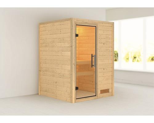 Sauna Plug & Play Karibu Madja sans poêle ni couronne avec porte entièrement vitrée transparente