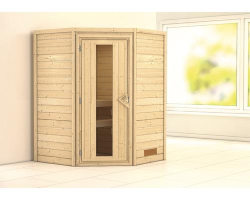 Sauna Plug & Play Karibu Flicja sans poêle ni couronne, avec porte en bois et verre isolé thermiquement
