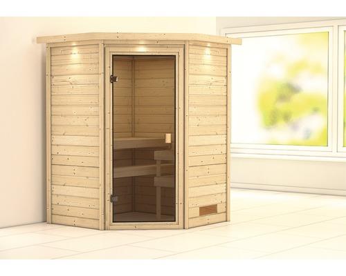 Sauna Plug & Play Karibu Flicja sans poêle avec couronne et porte vitrée coloris bronze