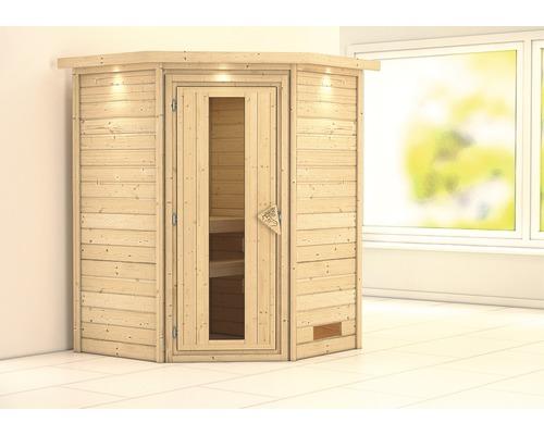 Sauna Plug & Play Karibu Flicja sans poêle avec couronne et porte bois en verre isolé thermiquement