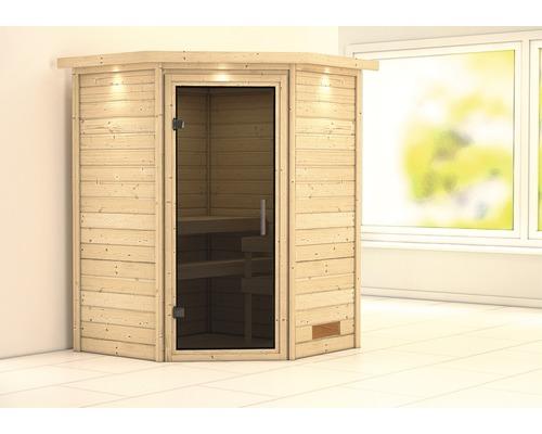 Sauna Plug & Play Karibu Flicja sans poêle avec couronne et porte entièrement vitrée coloris graphite