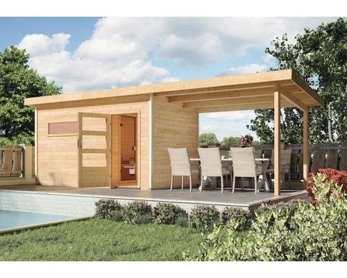 Toit en appentis Karibu pour chalet sauna Skrollano und Fuchsit 333x262x239 cm