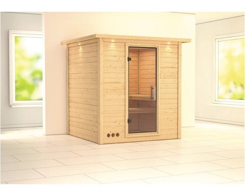 Sauna En Bois Massif Karibu Wojave Sans Poêle Avec Couronne Avec