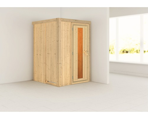 Sauna Plug & Play Karibu Tenja sans poêle ni couronne avec porte en bois et verre isolé thermiquement